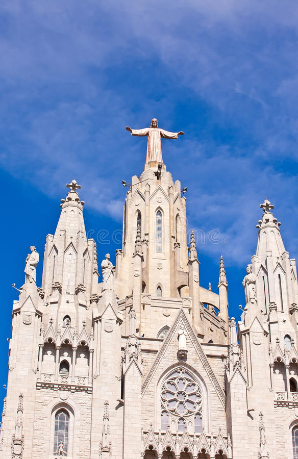 Temple on mountain top - Tibidabo in Barcelona city. Spain. Jesus Christus Statue (by Josep Miret) at Expiatory Church of the Sacred Heart of Jesus (Temple royalty free stock photos