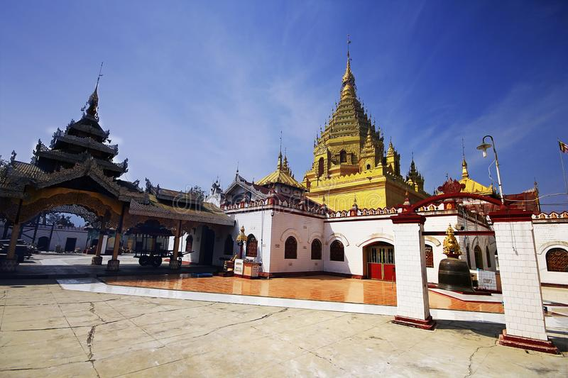 A temple in Burma with a golden roof. royalty free stock photography