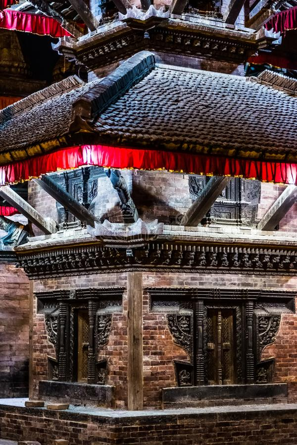 Temple near Durbar Square of Kathmandu at night stock images
