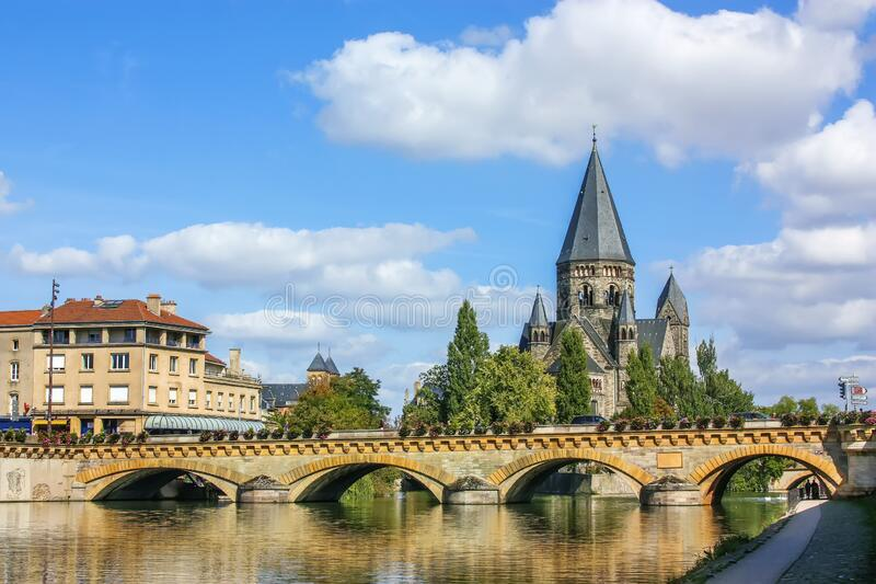 Temple Neuf, Metz, France. Temple Neuf is a Protestant church on the banks of the Moselle river in Metz, France stock photo