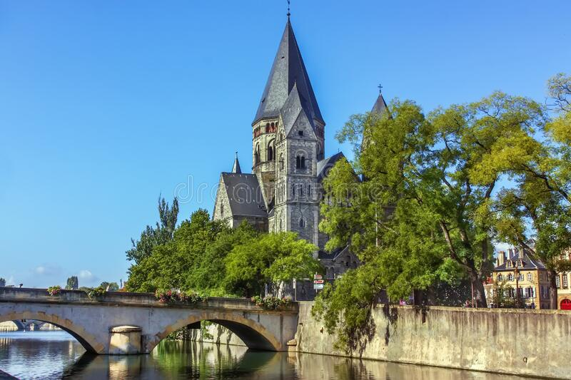Temple Neuf, Metz, France. Temple Neuf is a Protestant church on the banks of the Moselle river in Metz, France stock photography