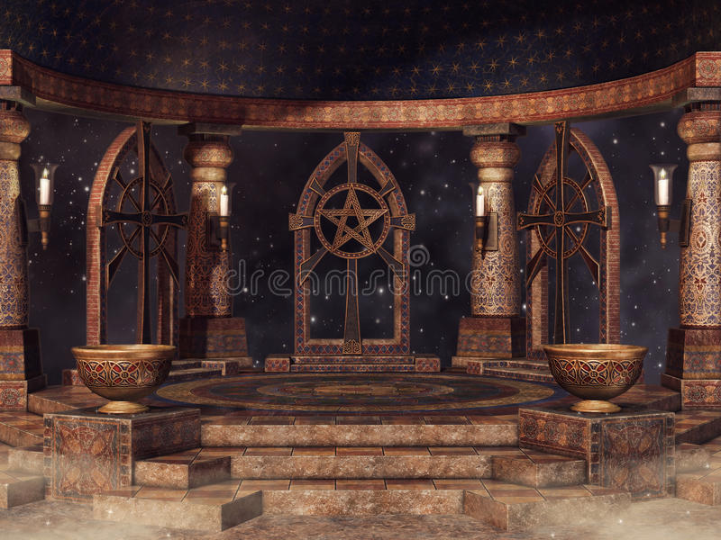 Temple at night. Fantasy temple with candles and vases at night vector illustration