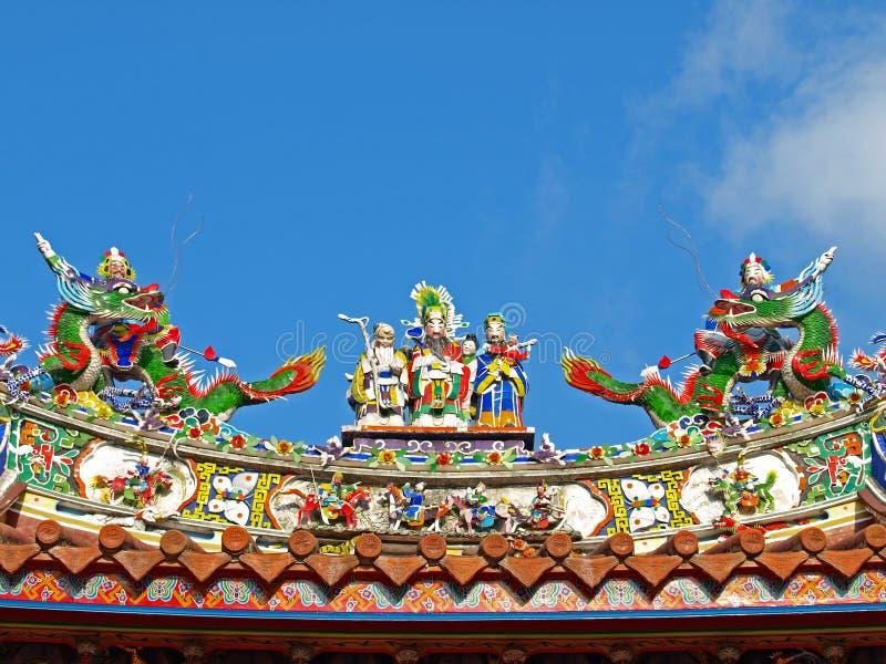 temple officiel de dessus de toit de mazu de décoration photographie stock libre de droits