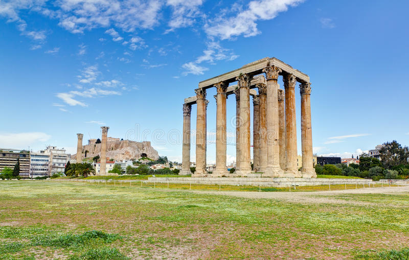 Temple of Olympian Zeus, Acropolis in background stock image