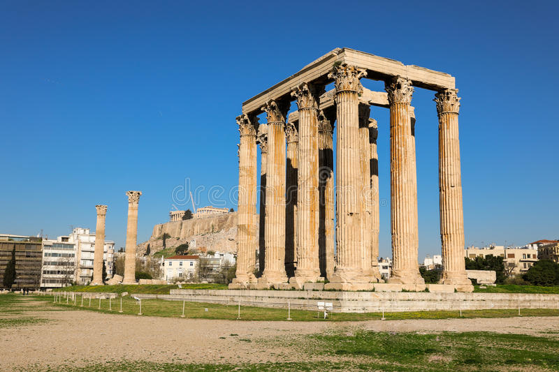 Temple of Olympian Zeus and Acropolis Hill, Athens, Greece. royalty free stock photos