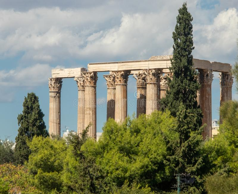 Temple of Olympian Zeus in Athens stock image