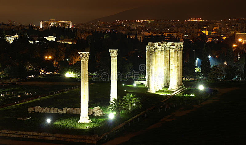 Download Temple Of Olympic Zeus stock image. Image of night, greece - 20613131
