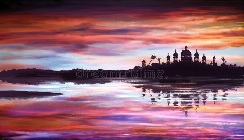 Temple oriental fantastique au-dessus de l'eau photos stock