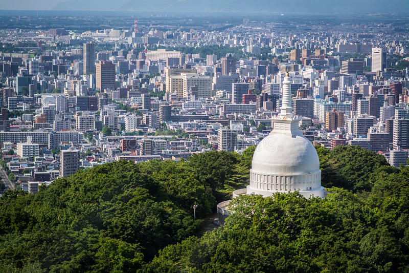Temple Over Sapporo royalty free stock image