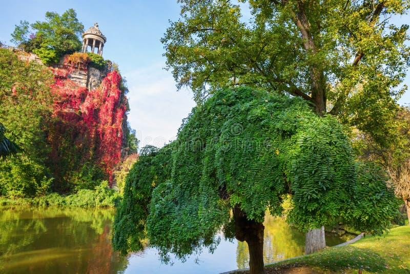 Temple in the park Buttes Chaumont, Paris, France. Temple de la Sibylle in the Parc des Buttes Chaumont in Paris, France, in autumn stock photos