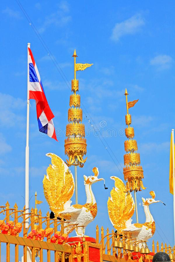 Thailand Flag In Wat Phra That Doi Wao, Mae Sai, Thailand stock photo