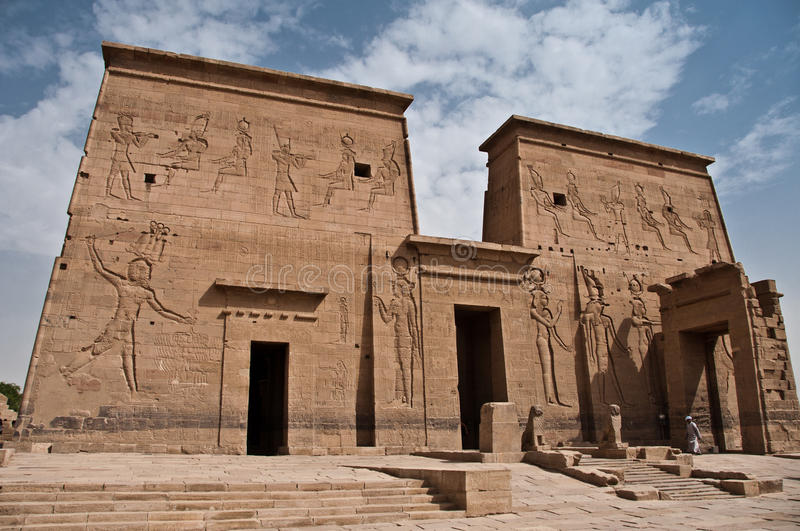 Temple of Philae. Pylon of Temple of Philae, near Aswan, Egypt stock images