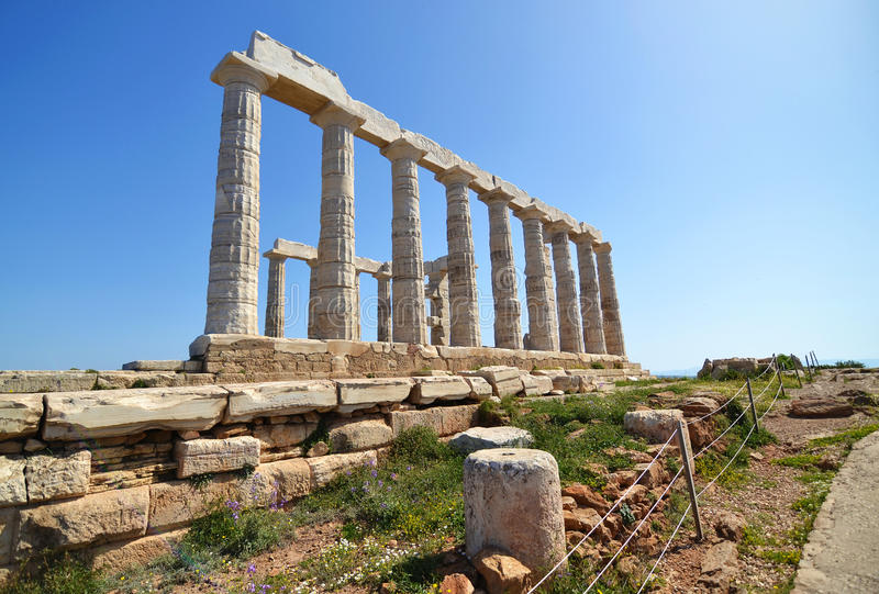 Temple of Poseidon at Cape Sounion Greece stock photography