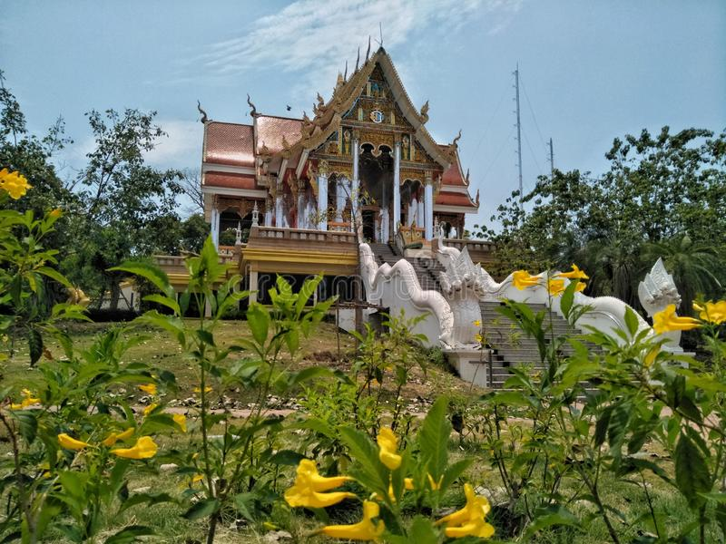 Temple in Pra That Bang Phuan temple in Nong Khai province of Thailand with yellow flowers foreground. Buhhda, buddhism, buddhist, wat, religion, old stock photos