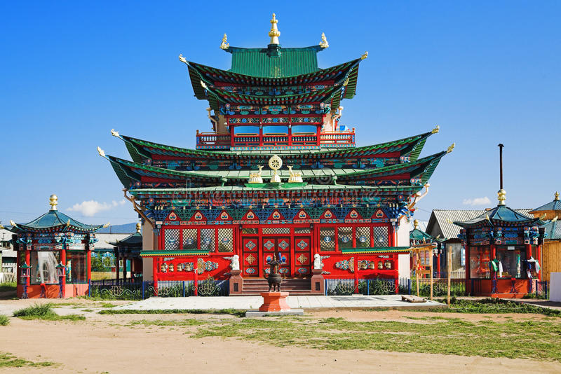 Temple of the Pure Land in the Ivolginsky Datsan stock photo