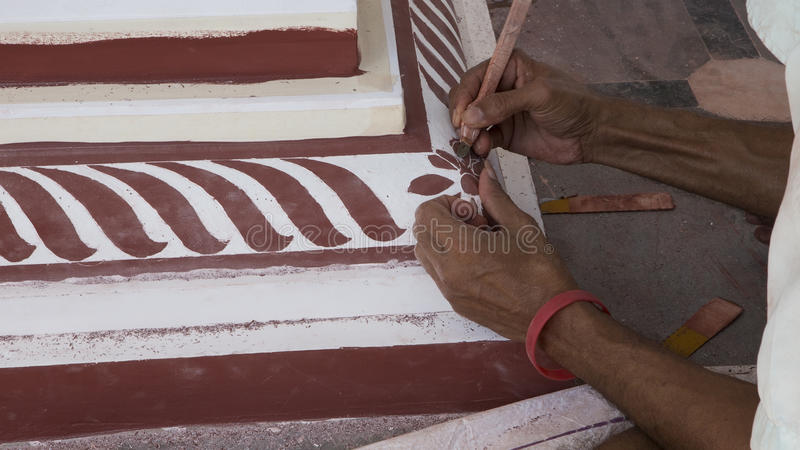 Temple reconstruction painting. Indian master painting Temple. stock photos