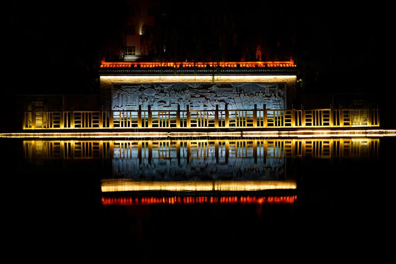 Temple Reflection on the river stock images