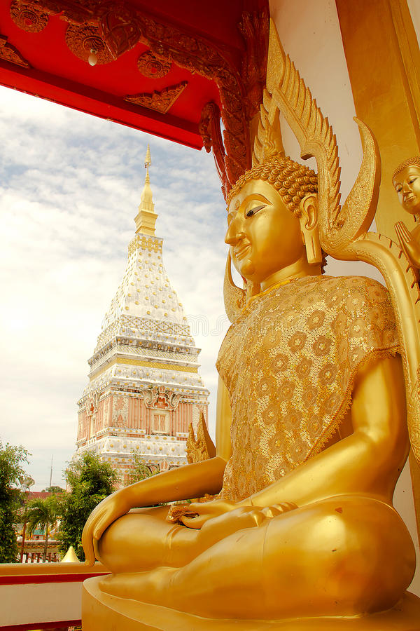 Temple in Renunakhon Nakhonphanom Thailand. Wat Phra That Renu, Temple in Renunakhon Nakhonphanom Thailand royalty free stock photography