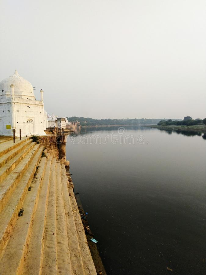 Temple river beautiful travel peace life india stock photography