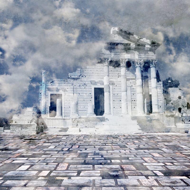 Temple romain antique surréaliste en nuages à la soirée Sons bleus illustration stock