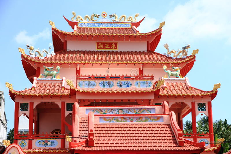 Temple roof. A red Buddhist temple roof in Karimun island, Indonesia royalty free stock photo