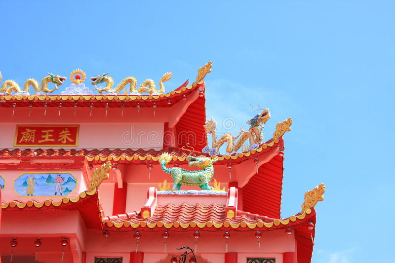 Temple roof. A red Buddhist temple roof in Karimun island, Indonesia stock images