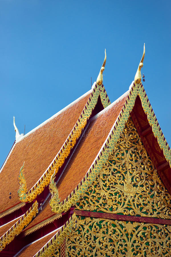 Temple roof. Ornate roof of buddhist temple, Wat Doi Suthep, Chiang Mai, Thailand royalty free stock photography