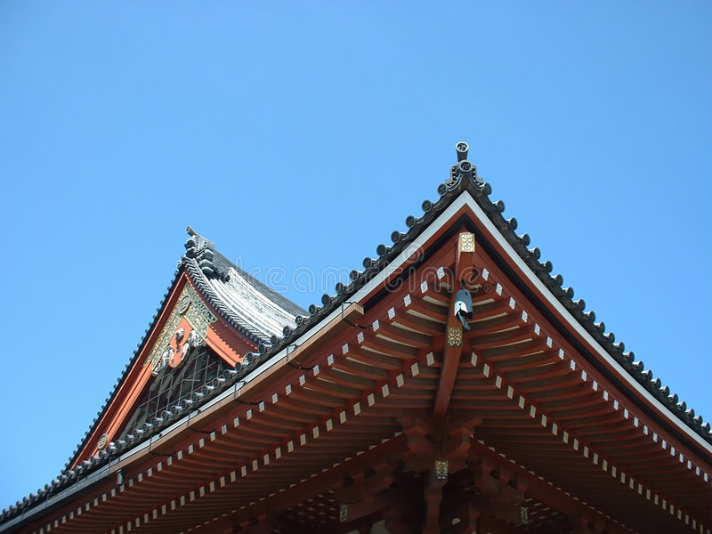 Temple roof - Double view stock photo