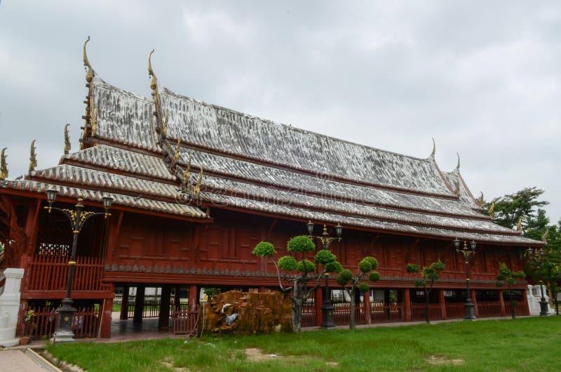 Temple roof. Double view wat yai suwannaram Phetchaburi Province royalty free stock images