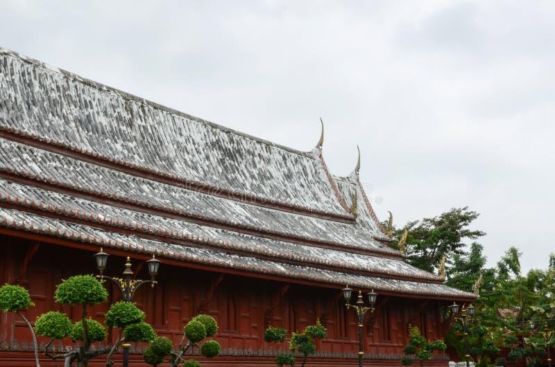 Temple roof. Double view wat yai suwannaram Phetchaburi Province stock image