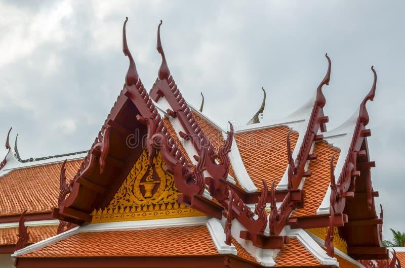 Temple roof. Double view wat yai suwannaram Phetchaburi Province royalty free stock photo