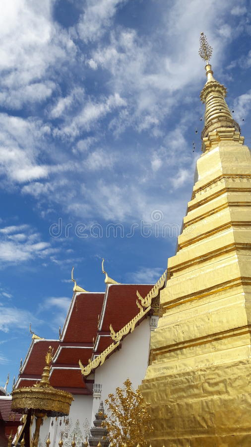 Temple roof and golden Pagoda in Thailand WatPradhatchohar stock images