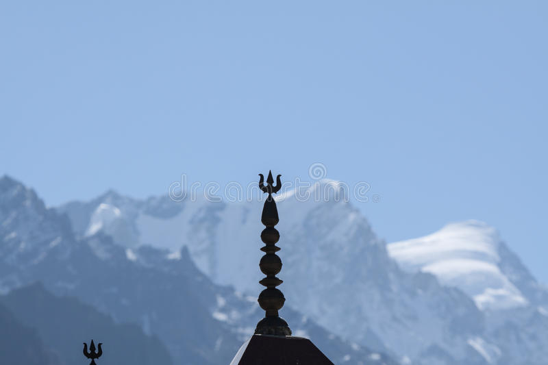 A Temple roof in the himalayas stock photos