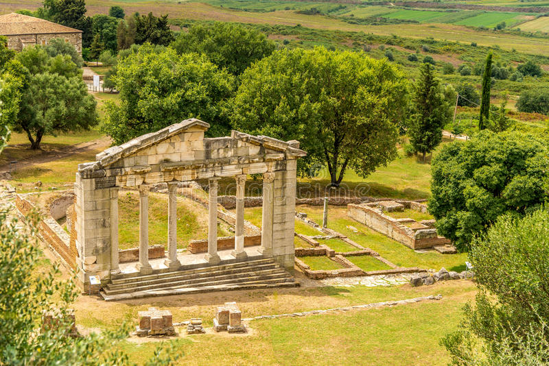 Temple ruins in Apollonia. Temple ruins in Apollonia - Monument of Agonothetes royalty free stock images