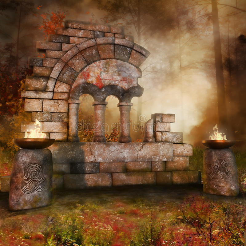 Temple ruins in the forest royalty free illustration