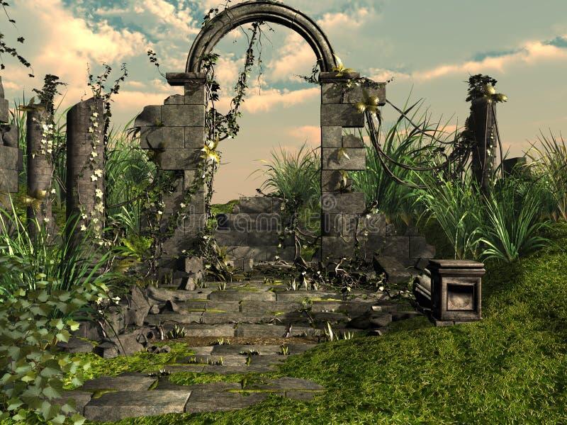 Temple ruins stock illustration