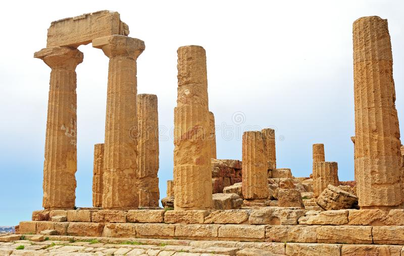 Temple ruins, Sicily, Italy. Panoramic view of Temple ruins, Sicily, Italy stock photography