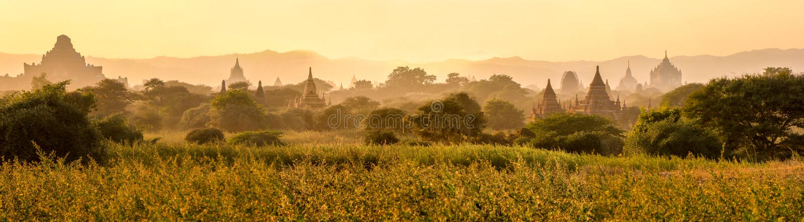 Temple ruins at the sunrise, Bagan, Myanmar royalty free stock photography