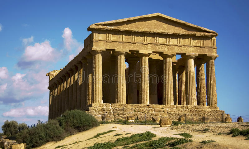 Temple's valley. A temple in the temple's valley in agrigento, sicily, italy stock photo