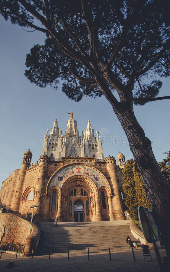 Temple Sacred Heart of Jesus on Tibidabo in Barcelona stock photography
