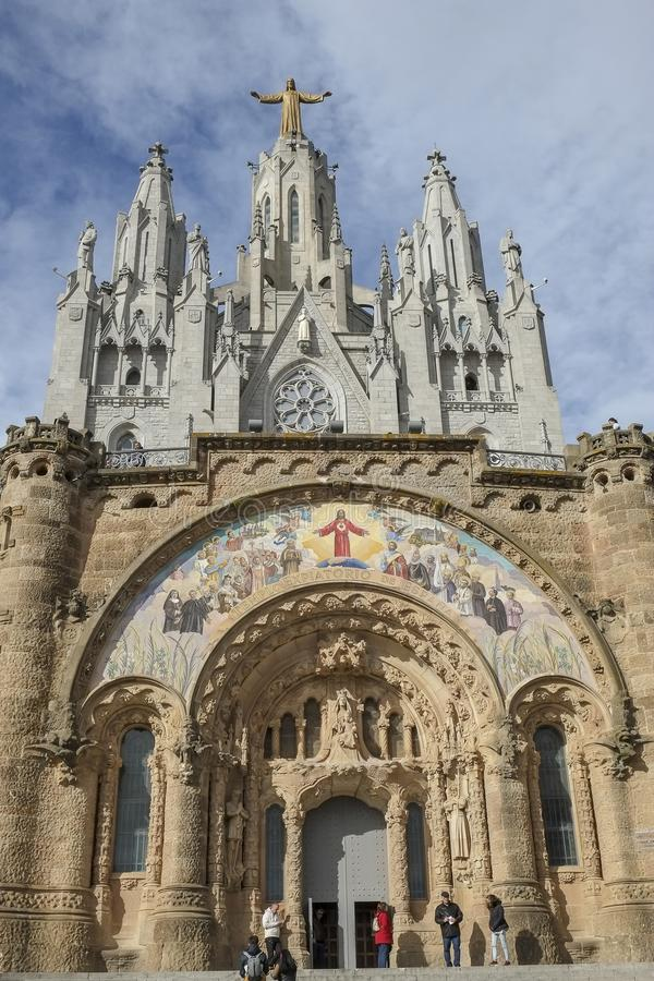 Temple of the Sacred Heart of Jesus Tibidabo stock image