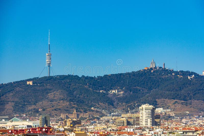 Temple of the Sacred Heart of Jesus on Tibidabo mountain above Barcelona, Spain stock images
