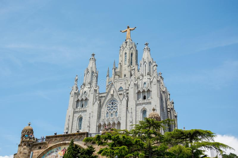 The Temple of the Sacred Heart on Mount Tibidabo in Barcelona, S stock images