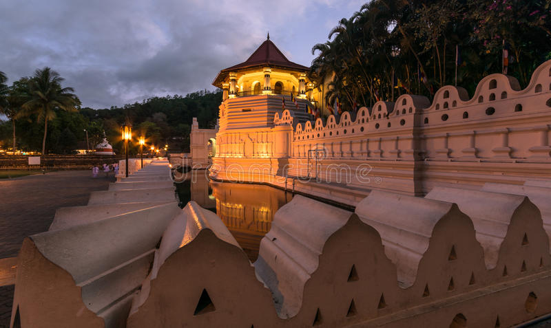 Temple of the Sacred Tooth Relic at Kandy, Sri Lanka. Temple Of The Sacred Tooth Relic, That Is Located In The Royal Palace Complex Of The Former Kingdom Of stock photo