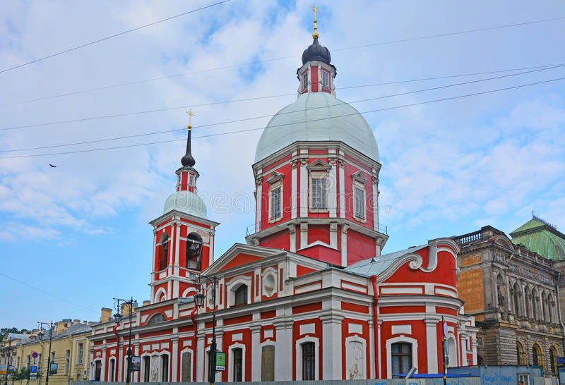 Temple of the Saint Great martyr and Healer Panteleymon in Saint Petersburg, Russia stock image