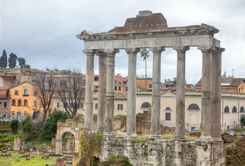 Columns of Roman Forum. Temple of Saturn of Roman Forum stock photos