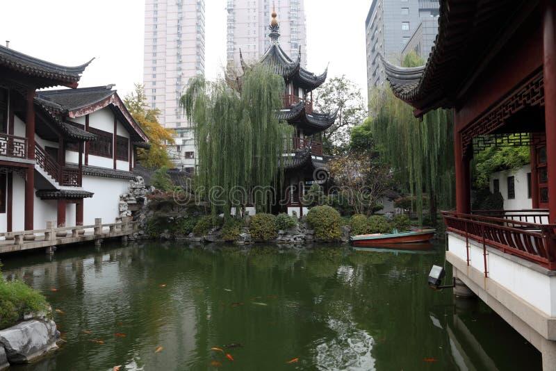 Temple in Shanghai, China. Wen Miao Confucian temple in Shanghai, China royalty free stock images