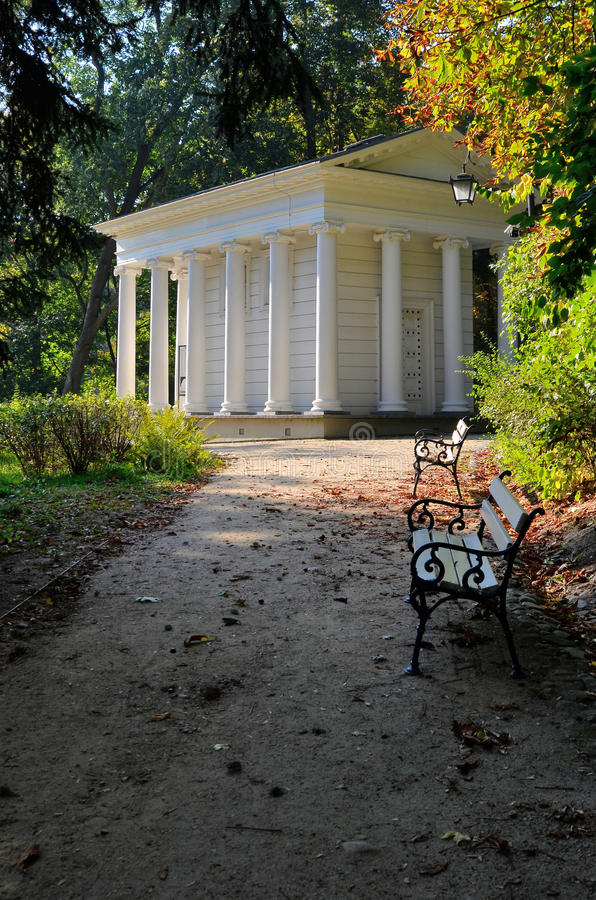 Temple of Sibyl in Lazienki Park in Warsaw, Poland. Sybils Temple also called the temple of Diana is located near Lazienki Palace in Lazienki Park. It was built royalty free stock photo