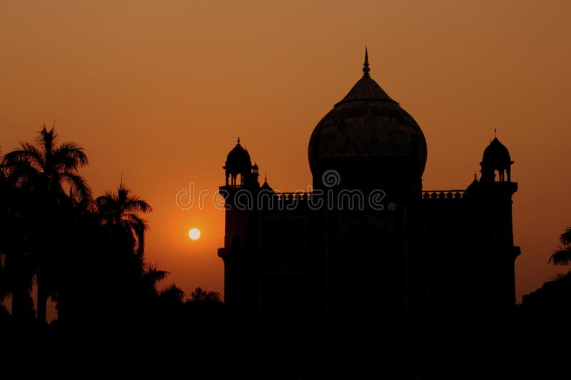 Temple silhouette. Silhouette of a eastern temple during sunset royalty free stock photography