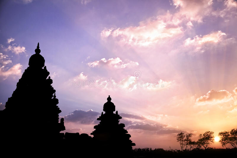 Temple silhouette in India royalty free stock photo